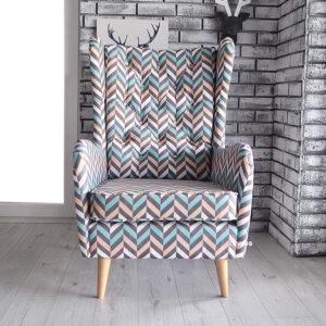 fotel uszak slim w kolorową jodełkę