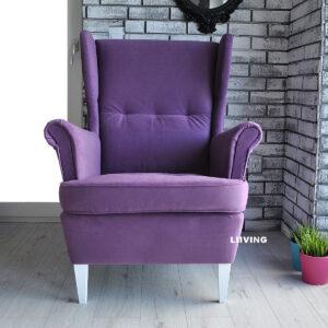 fotel uszak fioletowy