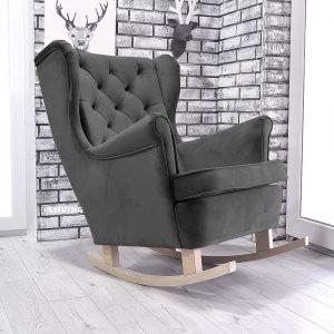 fotel w kolorze czarnym pluszu