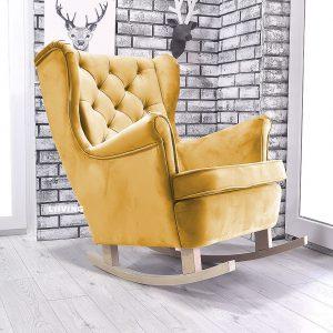 fotel w tkaninie złotej