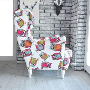 fotel w dziecięce sowy