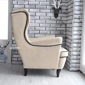 fotel uszak welur eupen + czarna lamówka i guziki 2