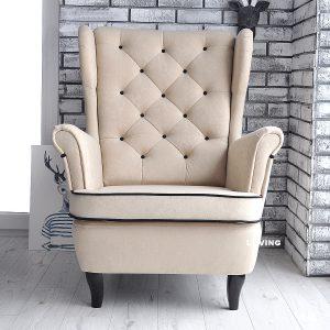 fotel uszak welur eupen + czarna lamówka i guziki 3