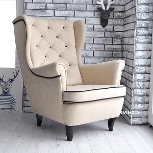 fotel uszak welur eupen + czarna lamówka i guziki