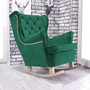 fotel bujany w kolorze zielonym + złota pinezka