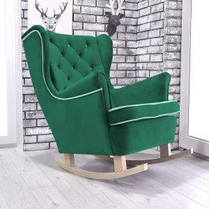 fotel uszak w butelkowej zieleni