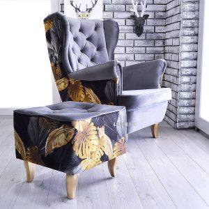 fotel w złote liście