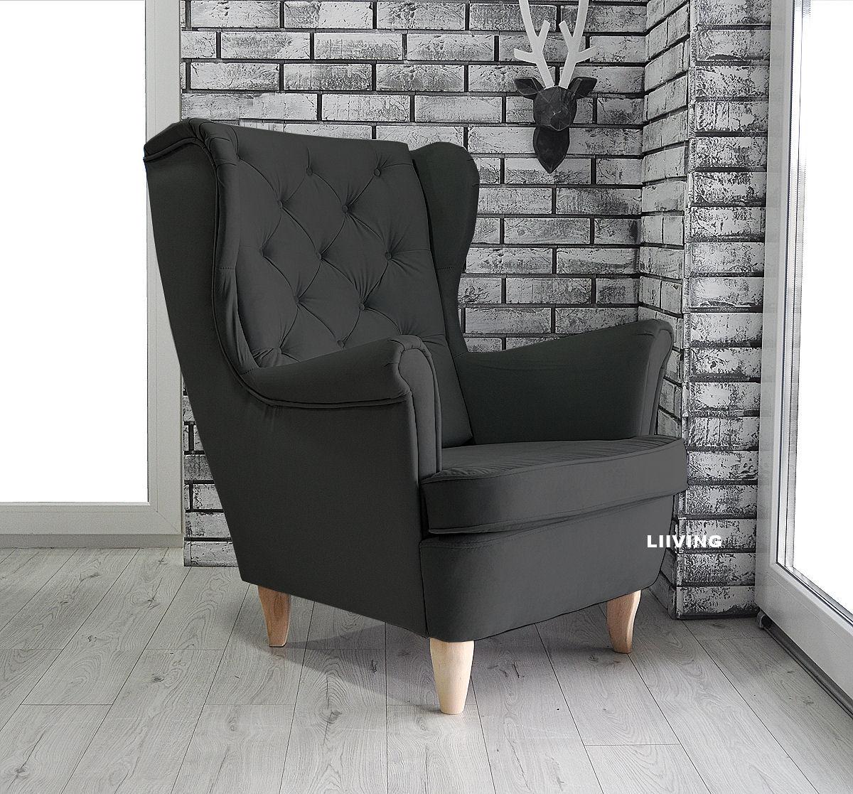 fotel uszak w kolorze czarnym