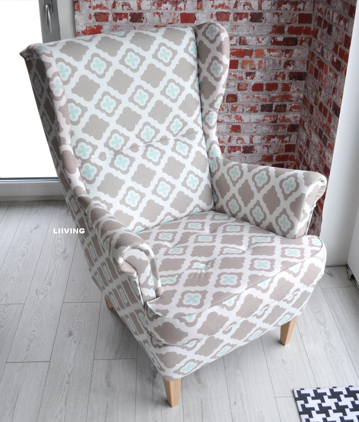 fotel w tkaninie marokańska koniczyna